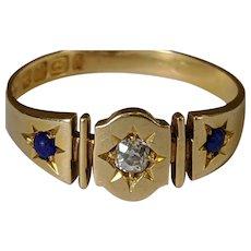 18k Cushion Cut Diamond and Lapis Ring
