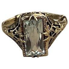 1920's 14k Filigree Aquamarine Ring
