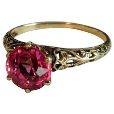 14k Ornate Pink Sapphire Ring