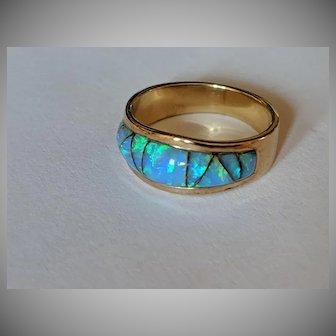 14k Australian Opal Inlay Ring