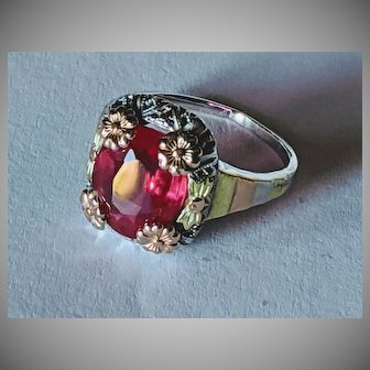14k Tri Colored Ruby Ring