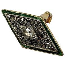 14k Yellow Gold & Silver Rose Cut Diamond Enamel RIng