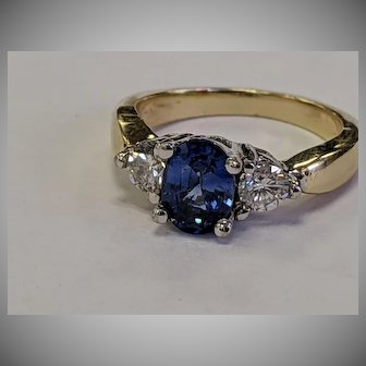 High Quality 2ctw 14k Sapphire Diamond Ring
