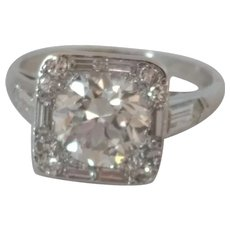 Deco 2.84ctw VVS1 Euro Cut Diamond Ring