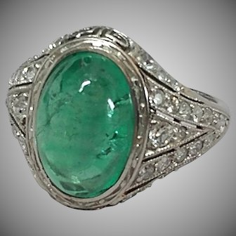 Deco Platinum Emerald Diamond Ring