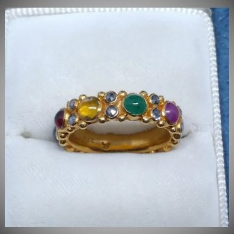 22k Diamond Gemstone Band