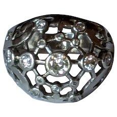 Deco French Platinum Diamond Ring