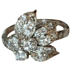 Platinum Diamond Floral Ring