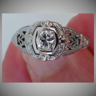 Platinum .50 carat Diamond Filigree Ring