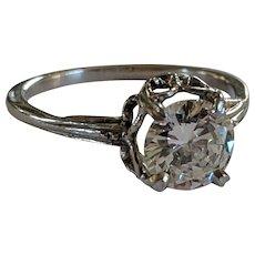 Platinum 7.6mm VVS1 H Diamond Solitaire Ring