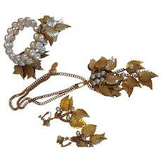 Vintage Miriam Haskell Cascading Leaf & Pearl Parure