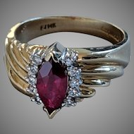 1+ carat Natural Ruby and Diamond Ring