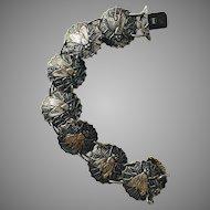 Rare 800 Silver Fly In Spider Web Bracelet