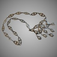 Old Sterling Peruzzi Style Floral Drop Necklace