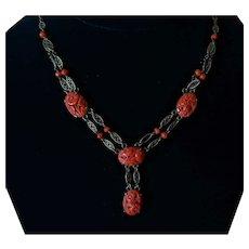 Sterling Natural Carved Coral  Necklace
