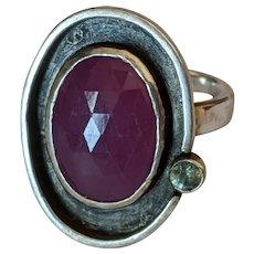 Artisan Sterling Ruby Tourmaline Ring