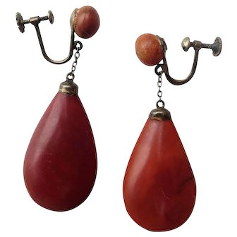 Art Deco Baltic Amber Teardrop Screwback Earrings