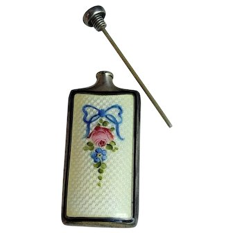 Thomae Sterling Silver Guilloche Enamel Perfume Flask