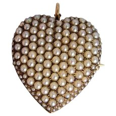 Riker Brothers 14k Gold Pave Set Cultured Seed Pearl Pendant Brooch