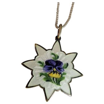 Norway Sterling Guilloche Enamel Pansy Necklace by Ivor T. Holth