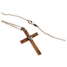 """10k Gold Cross with Diamond, 18"""" Chain, Original Box, 1940s Vintage 'New' Old Stock"""