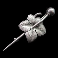 Antique Victorian Era Sterling Silver Ivy Leaf Brooch / Pin