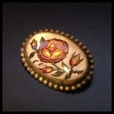 Antique Enameled Jewelry Rose Flower Pin