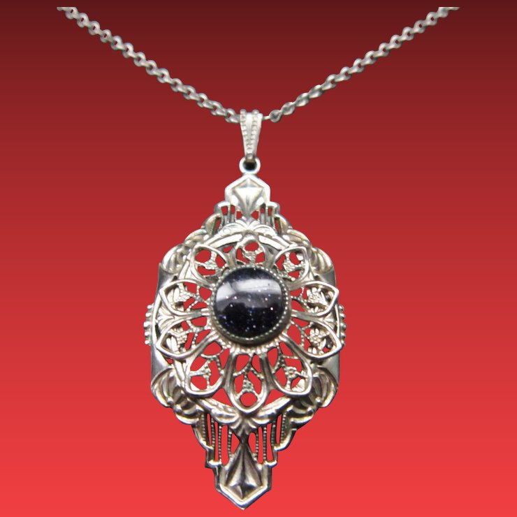 Art deco filigree necklace pendant victorian to vintage ruby lane art deco filigree necklace pendant mozeypictures Gallery