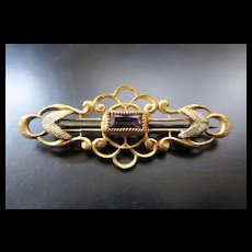 Antique Victorian Brooch / Pin Gold Tone