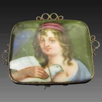 Antique Victorian Miniature Portrait Brooch Girl with Dove