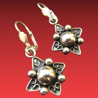 Vintage Mexican Sterling Silver Taxco Earrings Star Shape Design