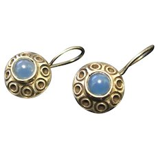 Vintage Sterling Silver Earrings Blue Cabchon Stone
