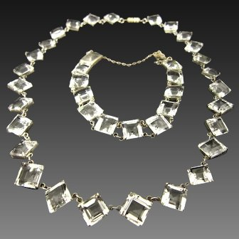 Art Deco Rock Crystal Quartz Necklace and Bracelet Set in Sterling Silver