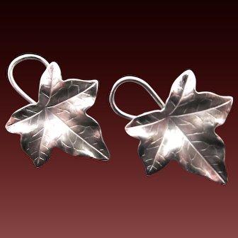 Vintage Sterling Silver Leaf Earrings Made by Carl-Art Inc.