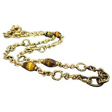 14k Yellow Gold Tigers Eye Chain Necklace 20 inches Long