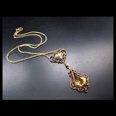 Antique 14k Yellow Gold Filigree Citrine Necklace with Tiny Seed Pearl