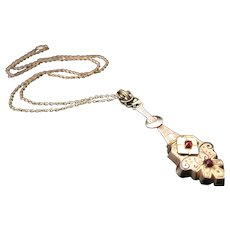 Antique Victorian Gold Filled Garnet Necklace with 14k Chain
