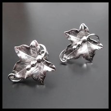 Vintage Solid Sterling Silver Screw Back Leaf Earrings / Made by Carl-Art, Inc. Providence, Rhode Island