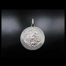Vintage Silver Saint Michael Medal Pendant / Charm Pray For Us