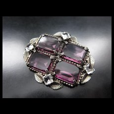 Vintage Art Deco Purple Glass Leaf Brooch / Pin