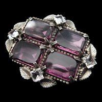 Vintage Art Deco Purple Glass Leaf Brooch / Pin