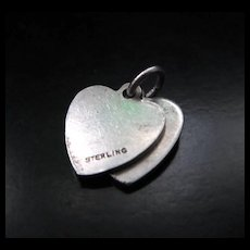 Vintage Sterling Silver Double Heart Charm