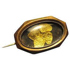 Antique Victorian Gold Nugget Brooch / Pin Glass Locket