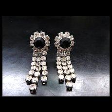 Vintage Black and White Rhinestone Dangle Earrings