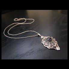 Vintage Art Deco Filigree Necklace / Pendant
