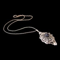 Vintage Art Deco Filigree Necklace / Pendant