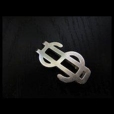 Sterling Silver Vintage Dollar Sign Money Clip