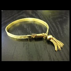 Vintage Gold Tone Greek Key Tassel Bracelet