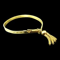 Vintage Gold Tone Greek Key Tassel Bracelet