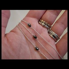Sterling Silver Black Diamond Chain Necklace